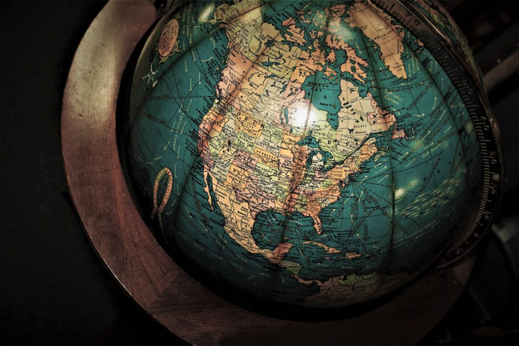 image of a globe highlighting the north american continent